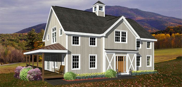 The vermont hilltop timber frame floor plan barn house for Vermont farmhouse plans