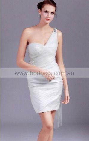 Sheath One Shoulder Knee-length Tulle Natural Evening Dresses gt0855--Hodress