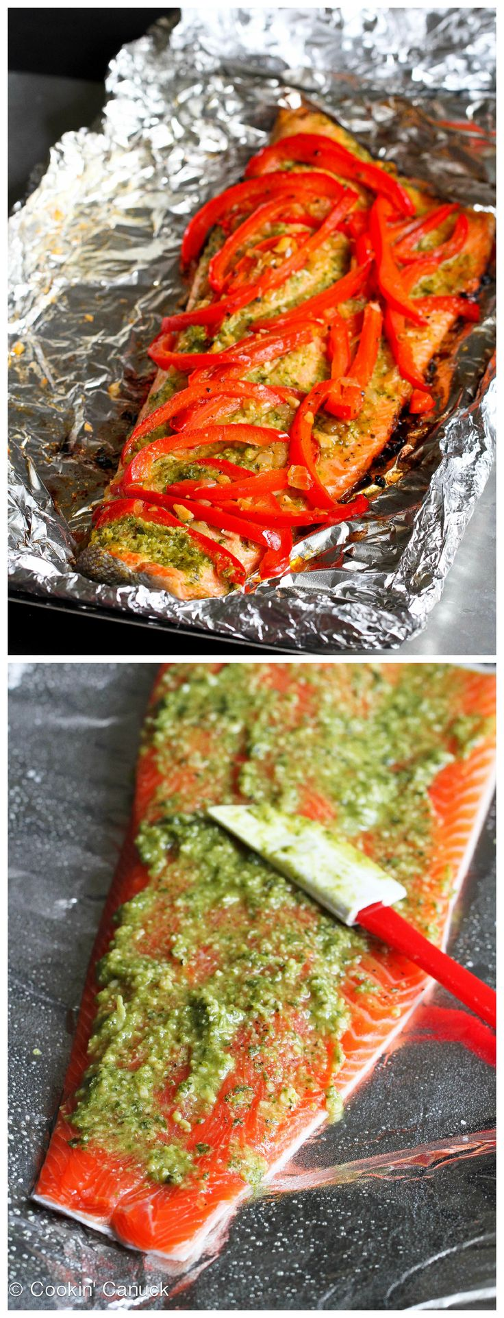 Easy Grilled Pesto Salmon in Foil Recipe...254 calories and 6 Weight Watchers PP | cookincanuck.com #healthy