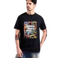 Wish | Grand Theft Auto GTA T Shirt Men Street Long with GTA 5 T-shirt Men Famous Brand TShirts in Cotton Tees for Couples GTA5