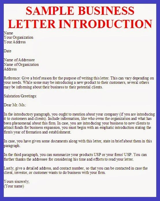 Writing company introduction letter