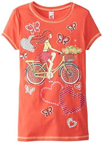 Beautees Big Girls' Girl On Bicycle Screen, Coral Spice, Small. Hearts and butterflies. 3D flowers detail. Girls on bike screen.