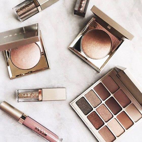 pinterest: @lilyosm | rose gold makeup tartelette in bloom eyeshadow highlighter liquid lipsticks