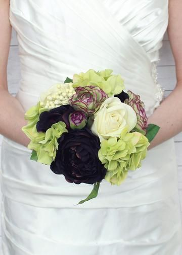"Silk Rose, Ranunculus, and Hydrangea Wedding Bouquet in Green Plum<br>11"" Tall"