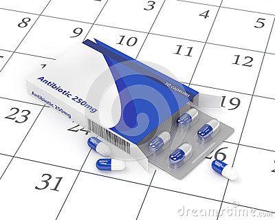 3d rendering of antibiotic pills in blister pack lying over calendar