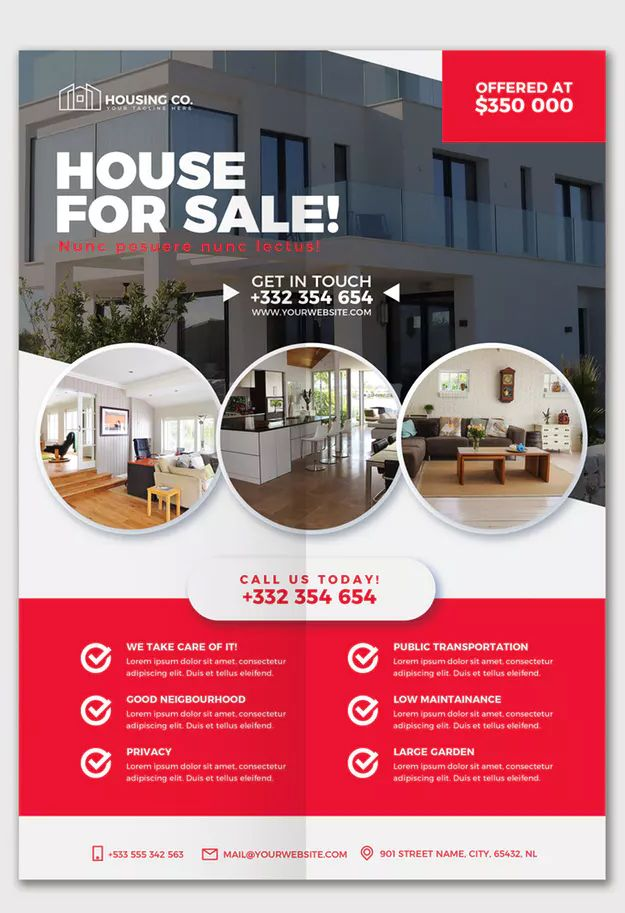 Real Estate Flyer Template PSD \u2022 Editable Text Flyer  Poster