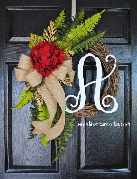 Red Hydrangea Grapevine Wreath with Burlap. Year Round Wreath. Spring Wreath. Summer Wreath. Monogram Wreath. Door Wreath.