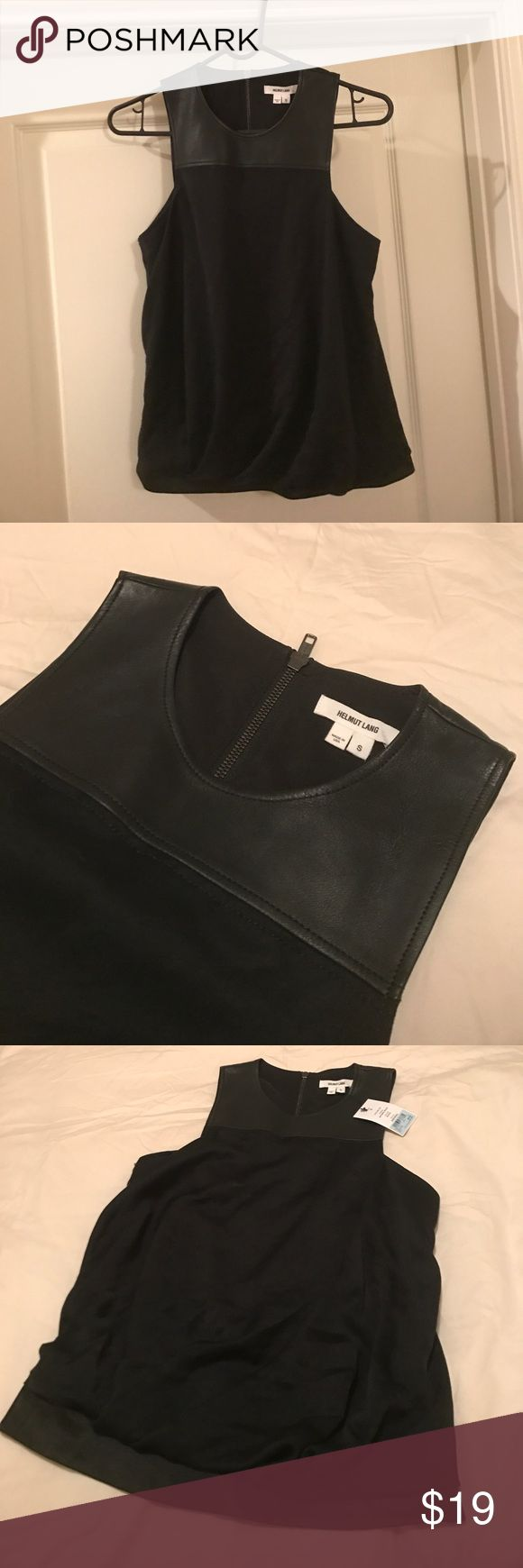 HELMUT LANG Black Top Black top by HELMUT LANG. Designer brand with tag on. Never wore before. It is listed as size S. But it feels small on me. I am 5'3 and 112 lbs. It fits more like XS or XXS. The Top part is made with leather. The body fabric is Artemis drape. Has a light suede type of feel. The bottom band is chiffon type of fabric. Helmut Lang Tops
