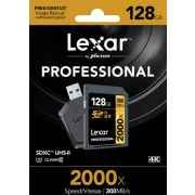 Lexar 128GB Professional 2000x UHS-II SDXC Memory Card with Card Reader
