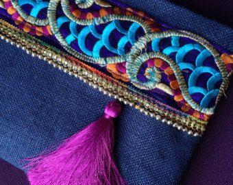 Green Floral Clutch, Bohemian Clutch, Boho Bag, Fashion Bag, Womens handbag…