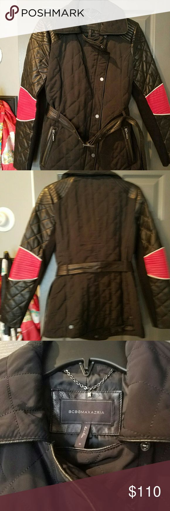 Jacket It is a quilted BCBG jacket with faux leather sleeves faux leather trim and faux leather belt BCBGMaxAzria Jackets & Coats Utility Jackets