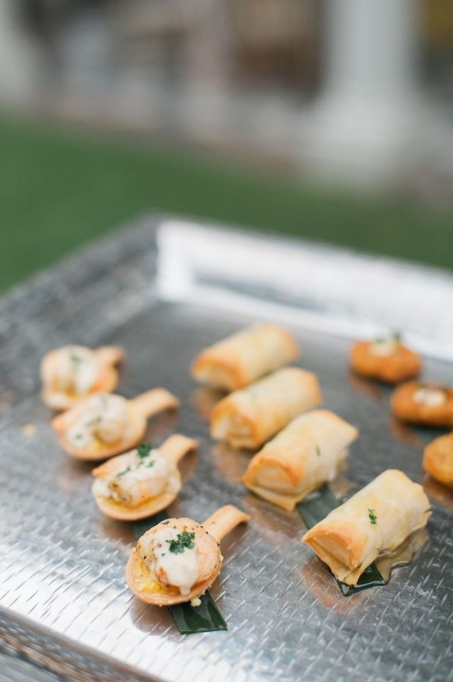 Passed hors d'oeuvres by the PPHG culinary team at an intimate vow renewal at The William Aiken House | Photo by Marni Rothschild