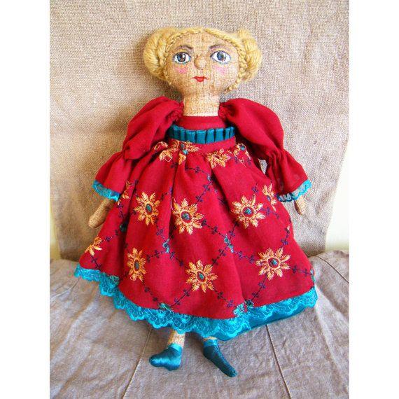 Cloth soft doll Art soft doll Spanish girl by UkrainianTextileDoll