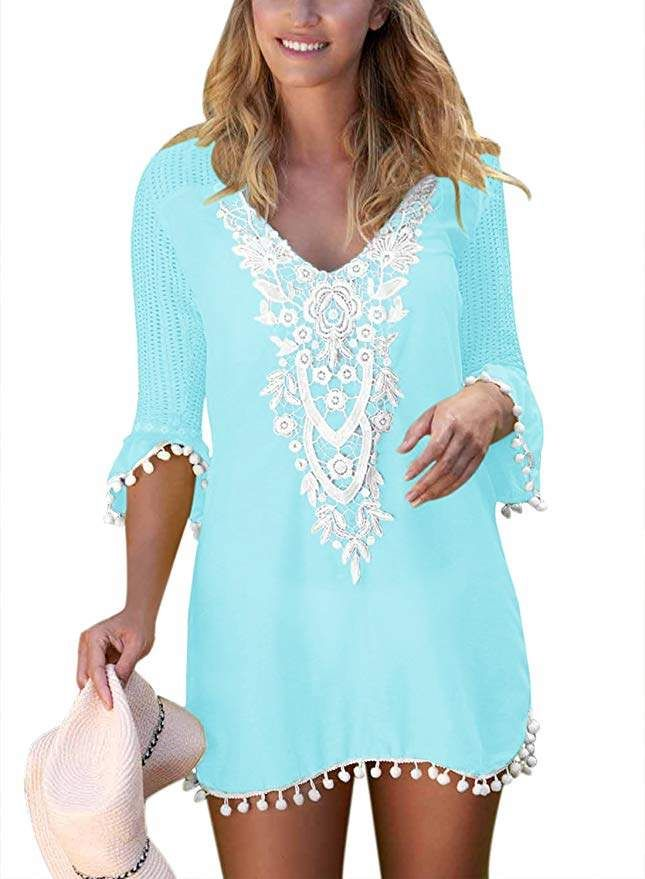 9625bdde0b4 2019 RESORT FASHION TRENDS!! Actloe Women's Crochet Pom Pom Trim Beach  Tunic Swimsuit Cover Up Dress #amazonfashion #ad #beach #coverup  #vacationwear ...