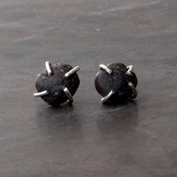 Raw Black Lava Stud Earrings Santorini Natural by SunSanJewelry