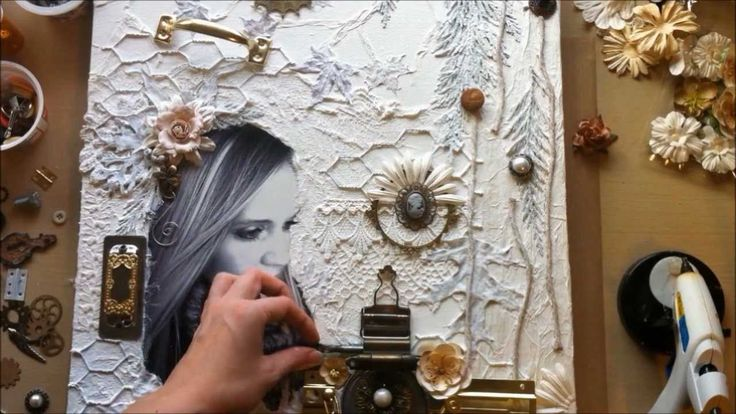 VIDEO:  'Sweet November' by LuvLee Scrappin - Mixed Media Canvas Collage from Start-to-Finish, Part 1 of 2
