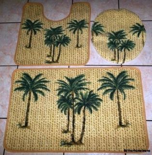 3Pc Tropical Palm Tree Bathroom Rug Set Bath Mat/U shaped Mat/Lid