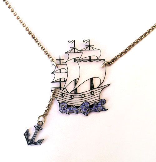Ship & Anchor -- Two Parts -- Clear Pendant Necklace, Shrink Plastic Jewelry --- FREE SHIPPING -- Gift box included