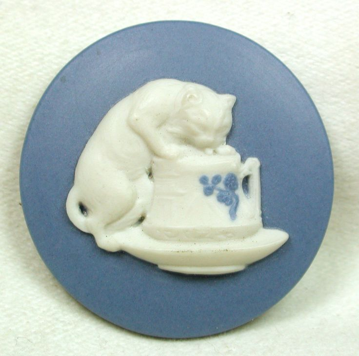 Jasperware Porcelain Button (Realistic Cat Drinking from a Creamer Vintage Button, Back Marked Antique Button)