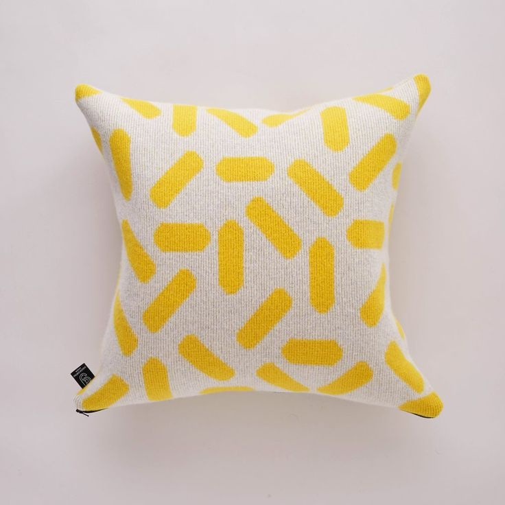 GIANNINA CAPITANI - TIC-TAC CUSHION LARGE IN GREY AND YELLOW