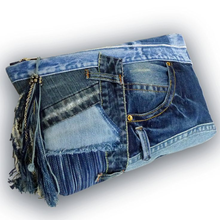 Recycled Old Jeans & Hand-dyed Indigo Fabric / Patchwork Clutch Bag by Kazuenxx on Etsy