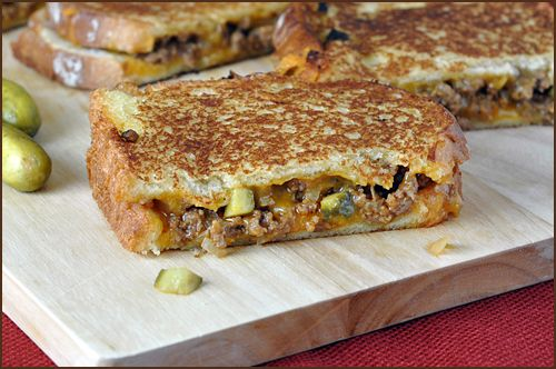 Dill Pickle Sloppy Joe Grilled Cheese. Oh my.Sloppyjoe, Dill Pickles, Ground Beef, Grilled Cheese Sandwiches, Sloppy Joe, Grilled Cheese Yum, Grilled Cheeses, Pickles Sloppy, Joe Grilled