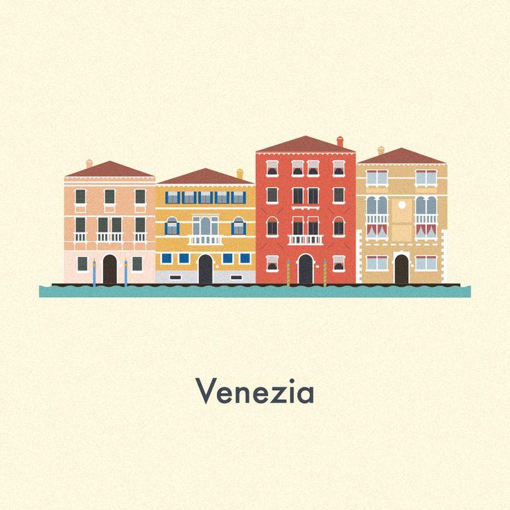 Vector Cities   Gloria Ciceri    Illustration, City, House, Venice, Venezia, Italia, Italy, Graphic Design