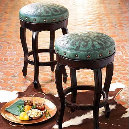 Turquoise Leather Riveted Bar Stools Kitchen Pinterest