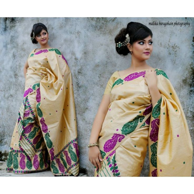 Assam 100% pure Muga Silk with Multicolour Motifs Mekhela Chadar