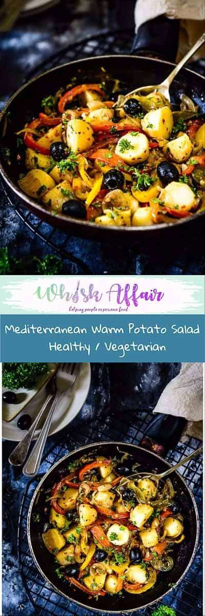 Mediterranean Warm Potato Salad is a delicious, filling and healthy salad begins with potatoes as the star, lightly tossed in flavorful white wine dressing. #Potato #Salad #Healthy via @WhiskAffair