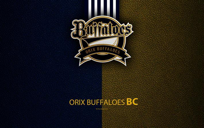 Download wallpapers Orix Buffaloes, 4K, Japanese baseball club, logo, leather texture, Osaka, Japan, Kobe, Hyogo, Nippon Professional Washoowall, baseball