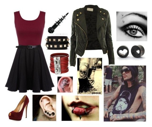 """""""Six Month Anniversary W/ Mike Fuentes"""" by skye-mist ❤ liked on Polyvore featuring Giuseppe Zanotti, CO, Valentino and Uno de 50"""