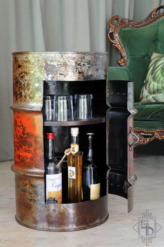 Bidon Mini Bar Table De Chevet Kan Bidon Barils Futs Home Decor