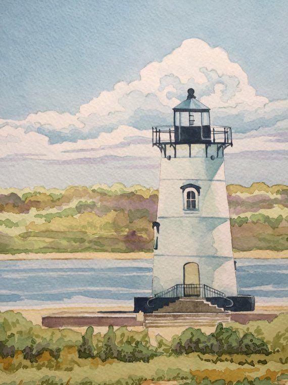 Lighthouse Painting Original Watercolor Nautical Coastal