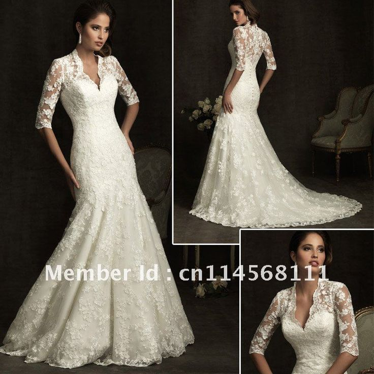 Free shipping w010 sexy v neck lace long sleeve wedding for Spanish wedding dresses lace