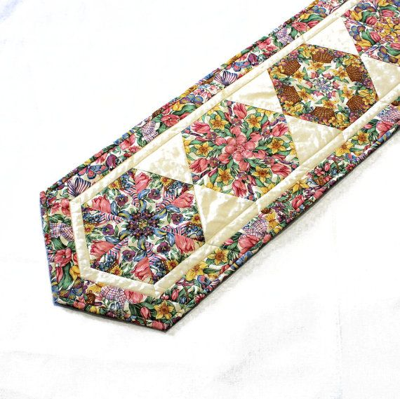 Spring and Easter FlowersTable Runner Quilt in by QuiltSewPieceful,
