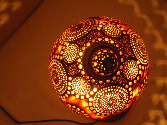 Charming 100% HANDMADE Gourd Lamp Kürbis Lampe Ottoman Turkish