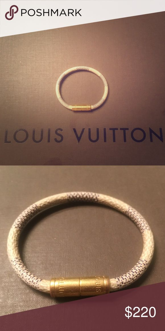Louis Vuitton Damien Azur leather bracelet Louis Vuitton Damien azur leather bracelet with gold clasp. Louis Vuitton Jewelry Bracelets