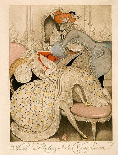 Gerda Wegener Le Retour de Vespasien  An original hand-coloured pochoir for 'sur Talons Rouges' published in limited edition of 450 by Briffaut, Paris c.1920
