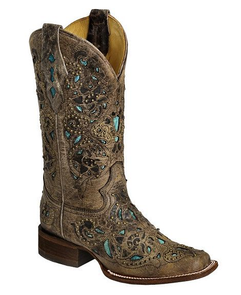Corral Studded Turquoise Leather Inlay Cowgirl Boots - Square Toe - My new obsession, Cowgirl Boots!