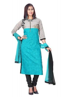 Traditional Readymade Turquoise Salwar Suit - 71739