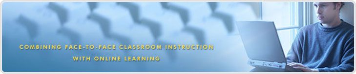 """In """"hybrid"""" classes, a significant amount of the course learning activity has been moved online, making it possible to reduce the amount of time spent in the classroom. Traditional face-to-face instruction is reduced but not eliminated."""