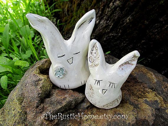 Ceramic Pottery rustic wedding cake topper bunnies ready to ship bunny rabbits Summer wedding woodland themed outdoors nature bride groom