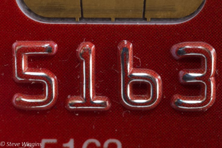 L4M1AS3 - Part D - Texture - Credit Card Detail. ISO 100, 5 Sec, f/8. M Mode, Tripod, tethered to Mac. Straightened in LR.