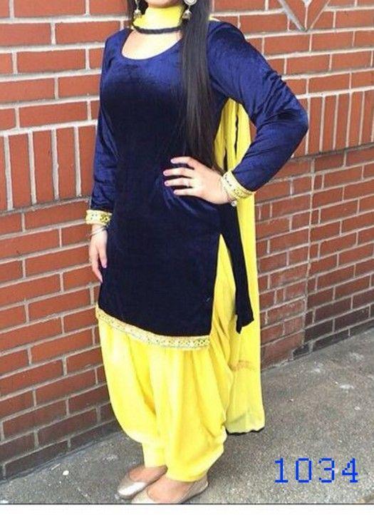 Blue Velvet Simple Patiala Salwar Suit