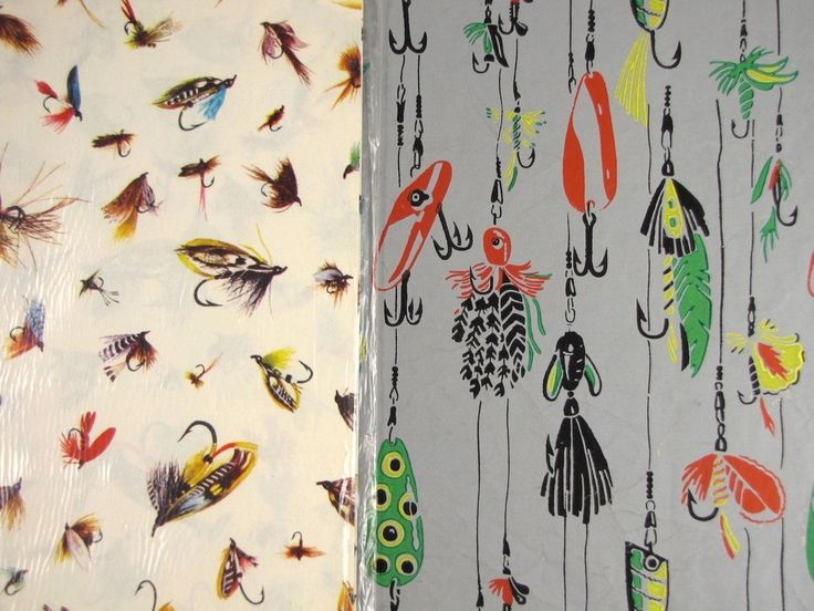 Fly tying vintage fly fishing gift wrap 2 designs for for Fish wrapping paper
