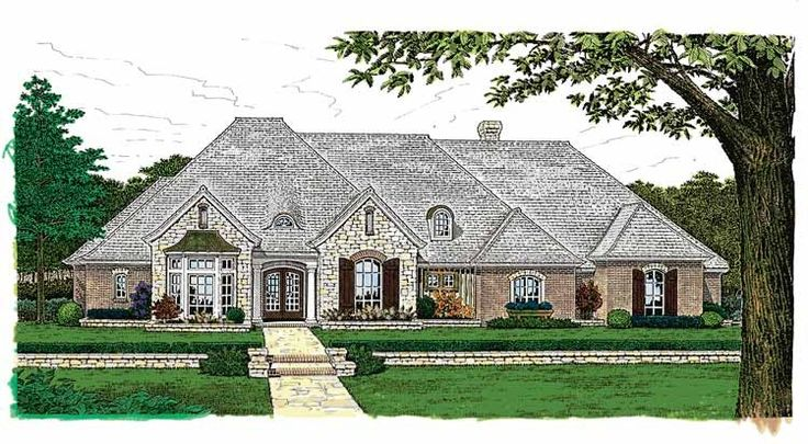 French Country House Plan with 3504 Square Feet and 4 Bedrooms from Dream Home Source | House Plan Code DHSW49362