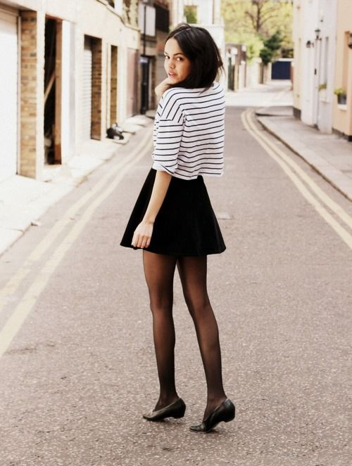 Black Skirt With Tights 37