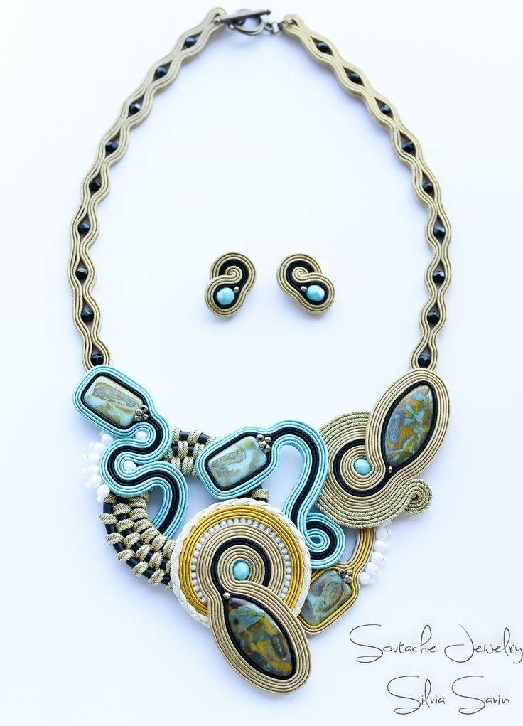 Turquoise/Beige/Gold/Mustard/Black Soutache necklace