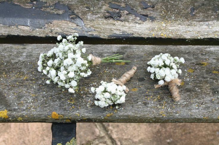 Cute as a buttonhole...gypsophila tied with string by www.floral-elements.co.uk
